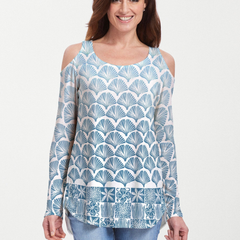 Faded Leaf Blue (2265) ~ Cold Shoulder Tunic