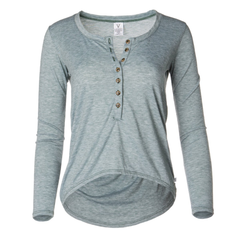 Adams- Women's Crew Neck Soft Premium Long Sleeve tee with Buttons