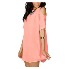 Summer Open Shoulder One Piece Short Dress