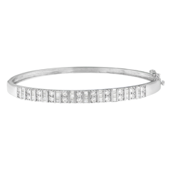 14K. White Gold 1.20ct. TDW Baguette and Round-cut Diamonds Bangle (H-I,I1-I2)
