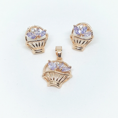 1-6382-h1 Gold Overlay CZ Floral Basket Earring and Pendant Set.