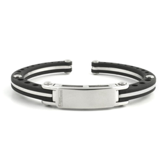 JoJino Stainless Steel Rubber Bracelet Bangle