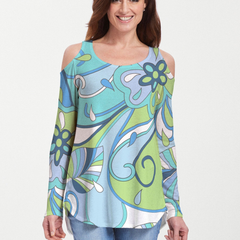 Floral Spritz Turquoise (22093) ~ Cold Shoulder Tunic