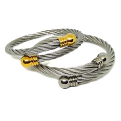 (4-5062-h6) Stainless Steel Cable Wire Bangle.