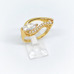 1-3107-h22 Gold Overlay CZ Ring.