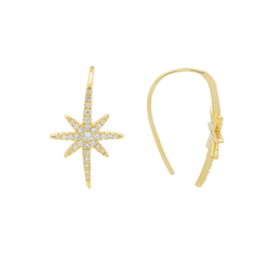 Large Golden Starburst Hook Earrings