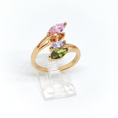 1-3107-h2 Gold Plated Multicolor CZ Ring.