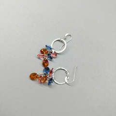 Hammered Circle Multi Crystal Color Drop Dangle Earrings