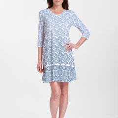 Faded Leaf Blue (2265) ~ V-neck Swing Dress