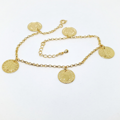 1-0201-h1 Gold Plated Coin Charms Anklet. Adjustable length.