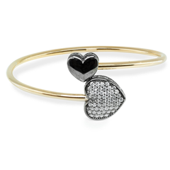 Sparkling Black Cz Heart Cuff Bangle in Sterling Silver
