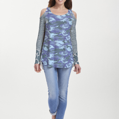 Camo-Floral Blue (9238) ~ Cold Shoulder Tunic