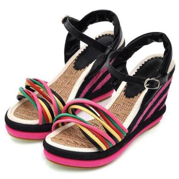 Womens Summer Color Block Criss-cross Platform Sandals