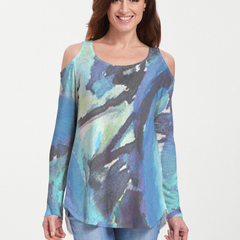 Abstract Blue (15035) ~ Cold Shoulder Tunic