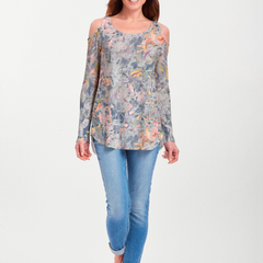 Floral Strokes Navy (7663) ~ Cold Shoulder Tunic