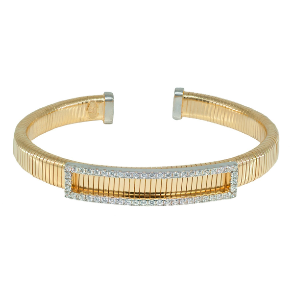 Golden Cz Tubo Gas Cuff Bangle
