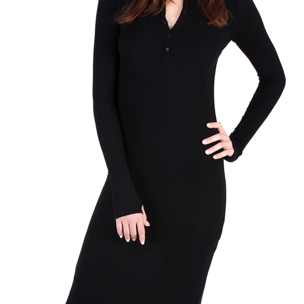 Modal Long Sleeve Henley Dress - Black