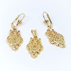 1-6005-h2 Gold Overlay Owl Earring and Pendant Set.