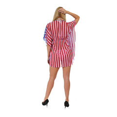 Gorgeous USA Flag Short Sleeve Cover-up Beach Dress Stars and Stripes Swimwear