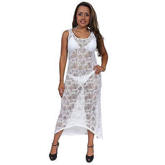 Women's Juniors Sheer Crochet Long Beach Dress Cover up Made in the USA