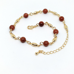 1-0134-h1 Gold Plated Venturina (Gold Sand Stone) Anklet. Adjustable length.