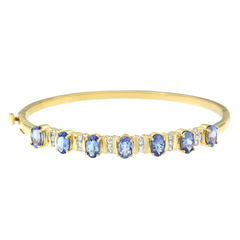 14K Yellow Gold 3.25ct.TDW Round-cut Diamond and Tanzanite Bangle (H-I, I1-I2)