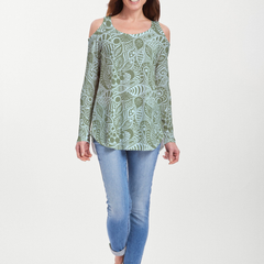 Aquatic Green (7610) ~ Cold Shoulder Tunic