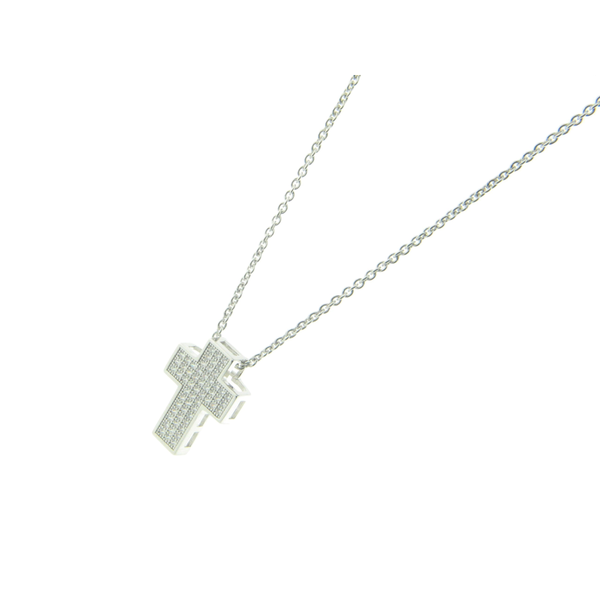 3D Micropave Zirconia Square Cross Necklace, 16""