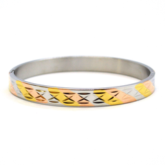 (mban-928-h9-6) Three Tone Stainless Steel Open/Close Bangle.