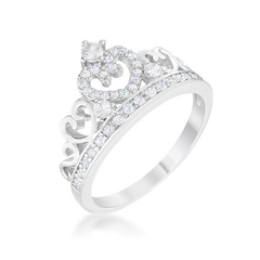 Aurora 0.34ct CZ Rhodium Heart Crown Ring