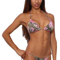 Women's Pink True Timber Triangle Top/Side Thong Swimwear