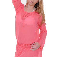 Women's Chiffon Long Sleeve Swimwear Cover-up Beach Dress
