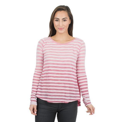 Diane Women's Boyfriend-Fit Dip Dyed Crew Neck Soft Premium Long Sleeve with Stripes