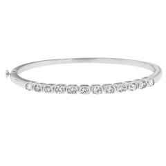 14K White Gold 1 7/8ct. TDW Round Cut Diamond Bonds of Love Bangle (H-I, SI1-SI2)