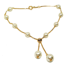 (mank-607-h6-1) Gold Filled Pearl Anklet with Adjustable Bolo Tie Design.