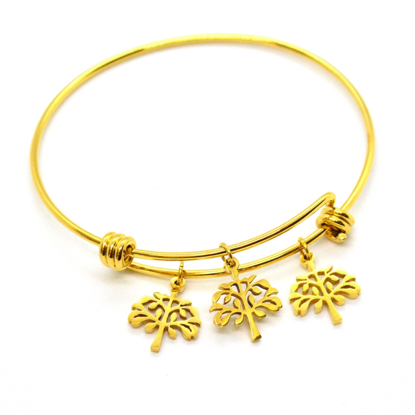 (mban-928-h9-8) Gold Plated Stainless Steel Tree of Life Bangle.
