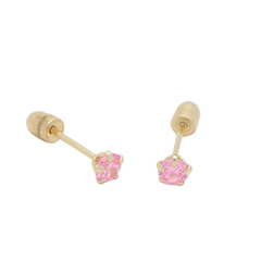 BecKids 14k Yellow Gold Pink CZ Stud Earring for Toddlers, 3mm Screwback Safety Post