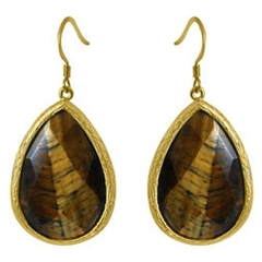 Zirconite Large Tiger Eye Tear Drop Earring