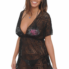 Women's Crochet V-Neck Swimwear Cover-up Beach Dress Made in the USA