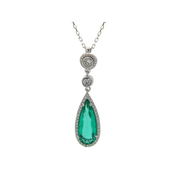 925 Sterling Silver Synthetic Emerald Pendant & White CZ Charm Necklace 16""