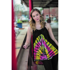 Black Tie Dye Sleeveless Batik Tunic