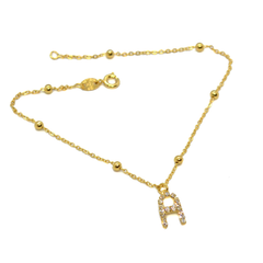 "(1-0059-2453-h8) Gold Filled Initial Anklet, 10""."