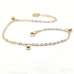 4-3307-h2 Gold Plated over Steel Ball Charms Anklet. 10""