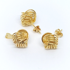 1-6003-h2 Gold Filled Wire Ball Earring and Pendant Set. 12mm