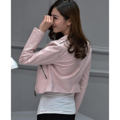 Womens Short Vegan Leather Biker Jacket in Pink