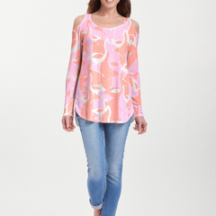 Camo Flamingo Coral (20323) ~ Cold Shoulder Tunic