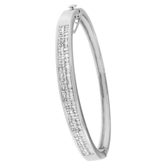 14K White Gold 2 1/10 ct.TDW Princess and Baguette Cut Diamond Classic Bangle (H-I,SI1-SI2)