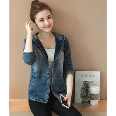 Womens Short Denim Hooded Jacket