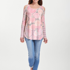 Corsage Pink (10153) ~ Cold Shoulder Tunic