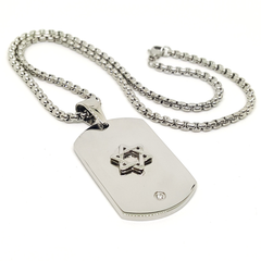 4-3232-h1 Stainless Steel Star of David Tag Necklace, 18""
